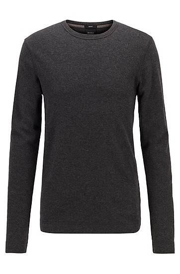 boss  T-shirt Slim Fit à manches longues en coton gaufré Slim fit Col rond... par LeGuide.com Publicité