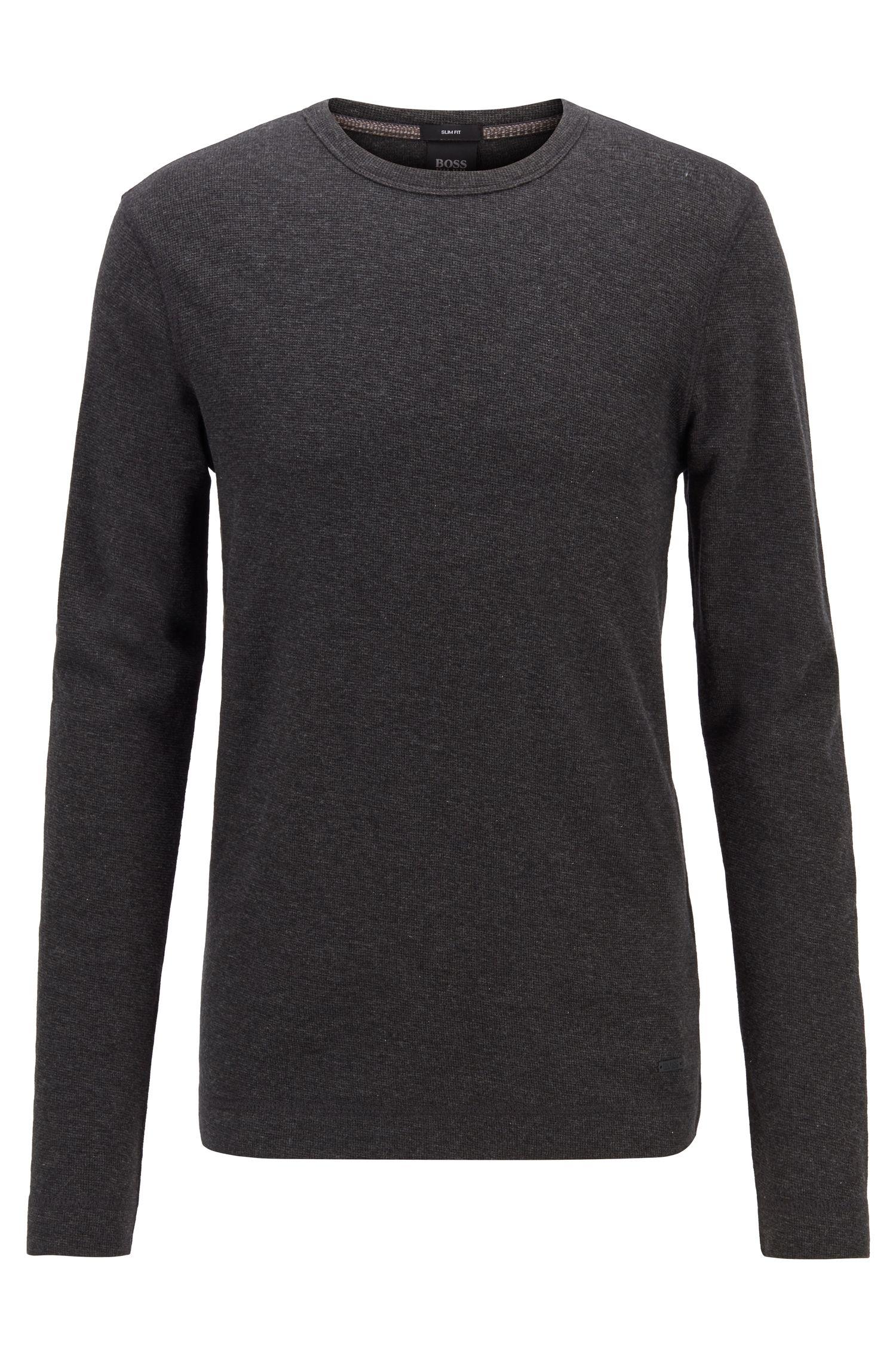 T-shirt Slim Fit à manches longues en coton gaufré, Noir