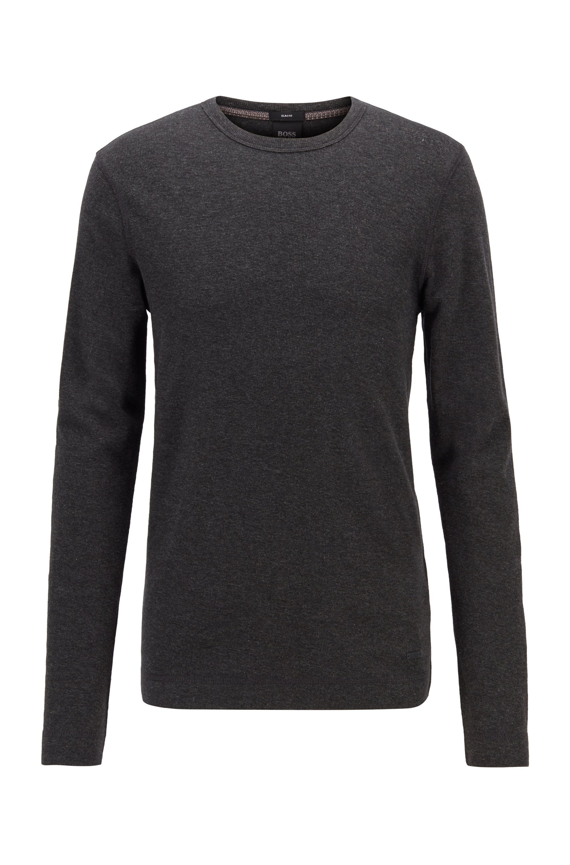 Slim-fit T-shirt with long sleeves in waffle cotton, Black
