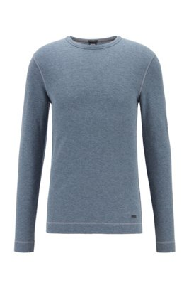 Slim-fit T-shirt with long sleeves in waffle cotton, Dark Grey