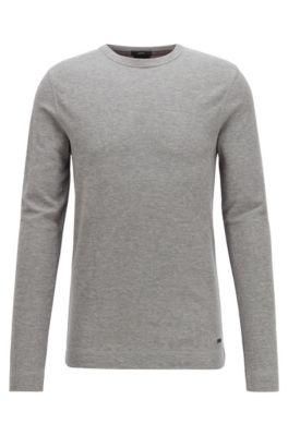 T-shirt slim fit a maniche lunghe in cotone con lavorazione a nido d'ape, Grigio chiaro