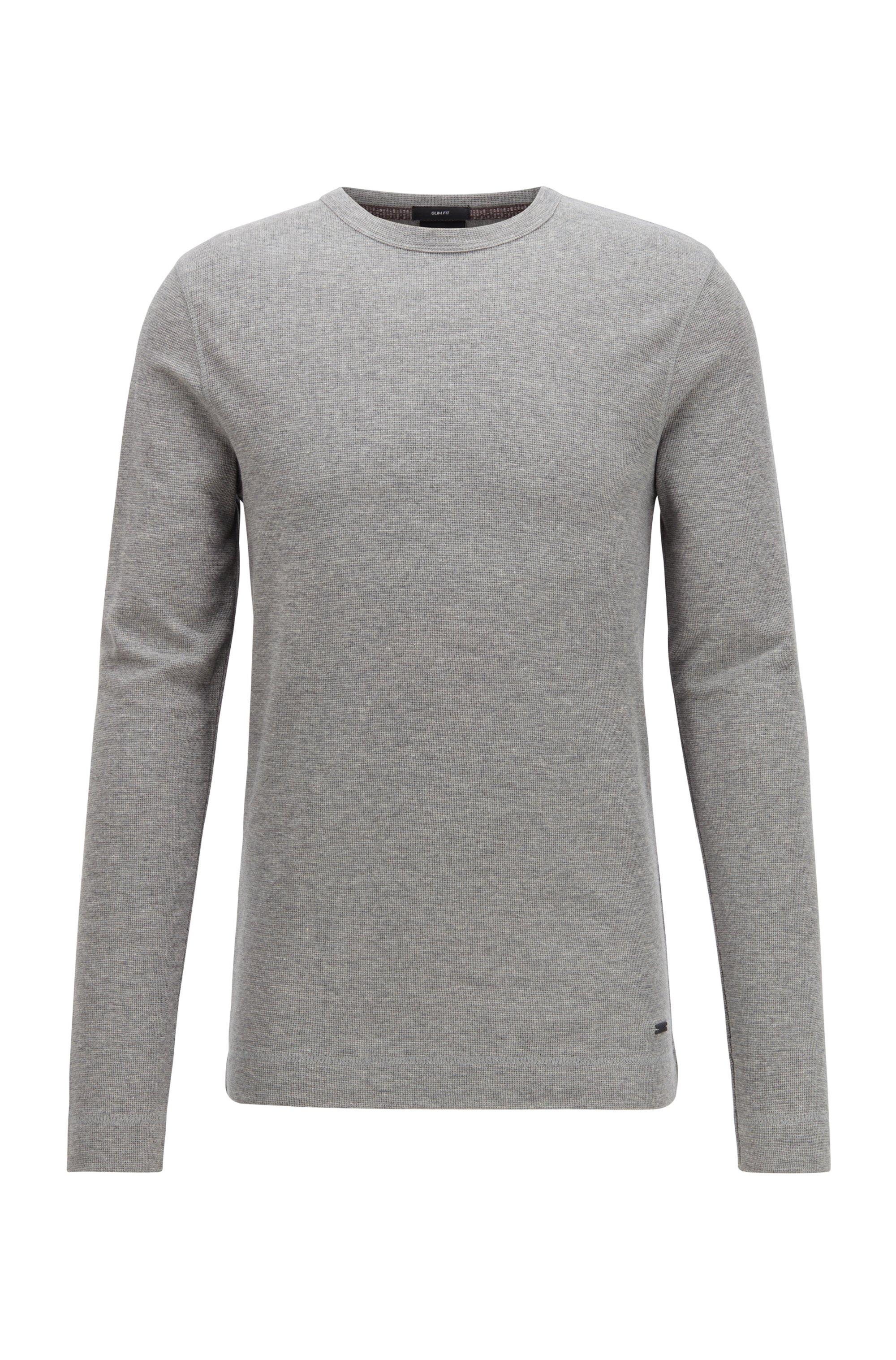 T-shirt Slim Fit à manches longues en coton gaufré, Gris chiné