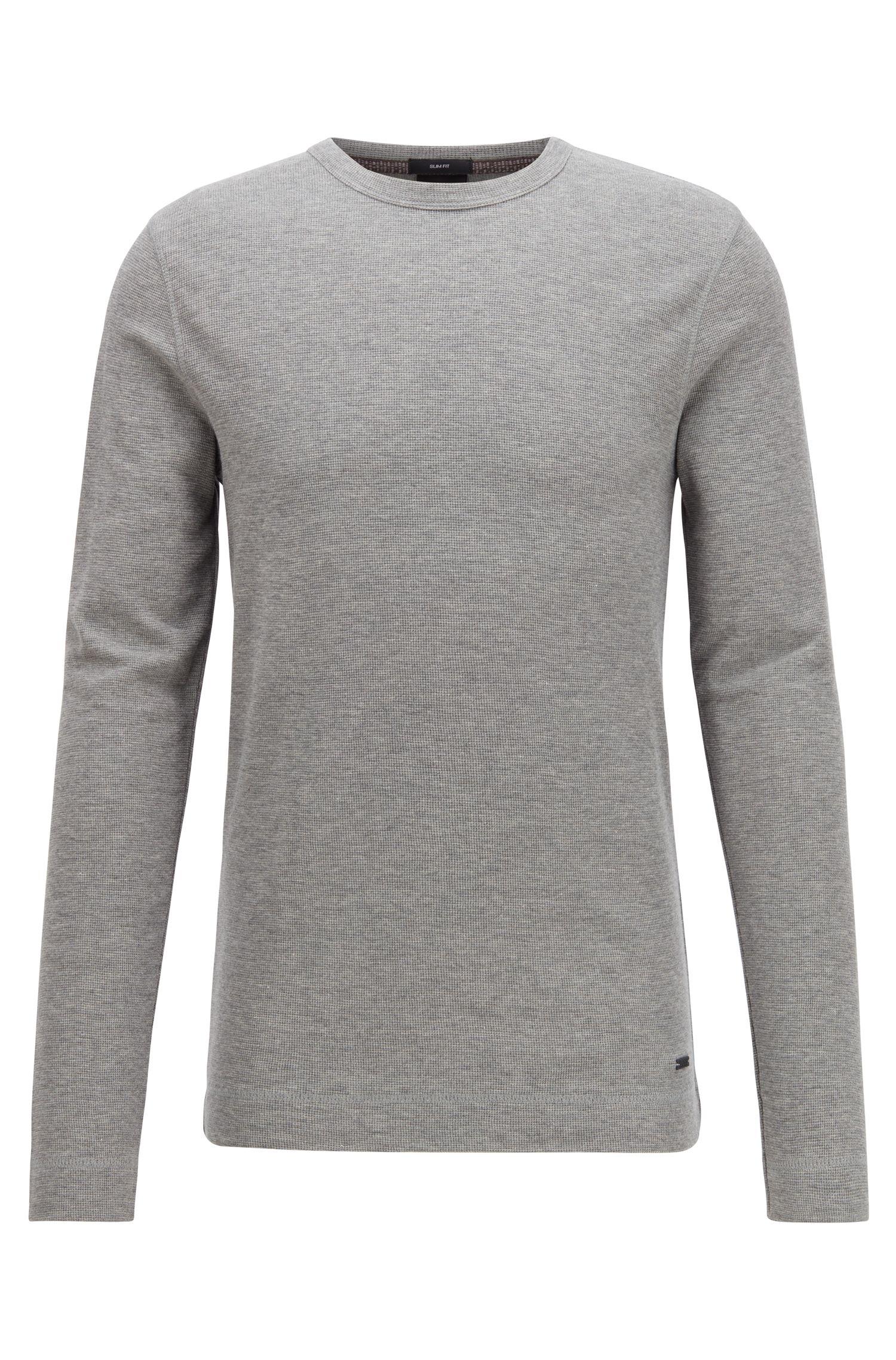 Slim-fit T-shirt met lange mouwen, van katoen met wafelstructuur, Lichtgrijs