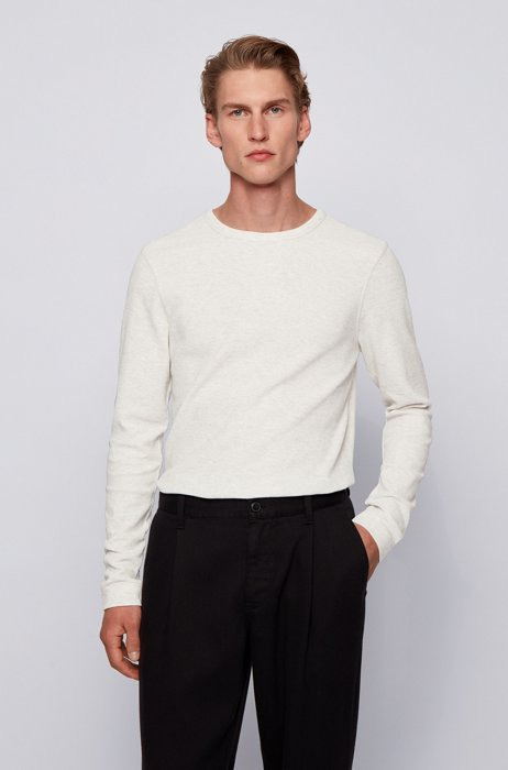 Slim-fit T-shirt met lange mouwen, van katoen met wafelstructuur, Wit
