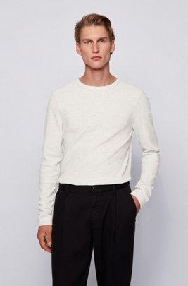 Longsleeve aus Baumwolle mit Waffelstruktur, Weiß