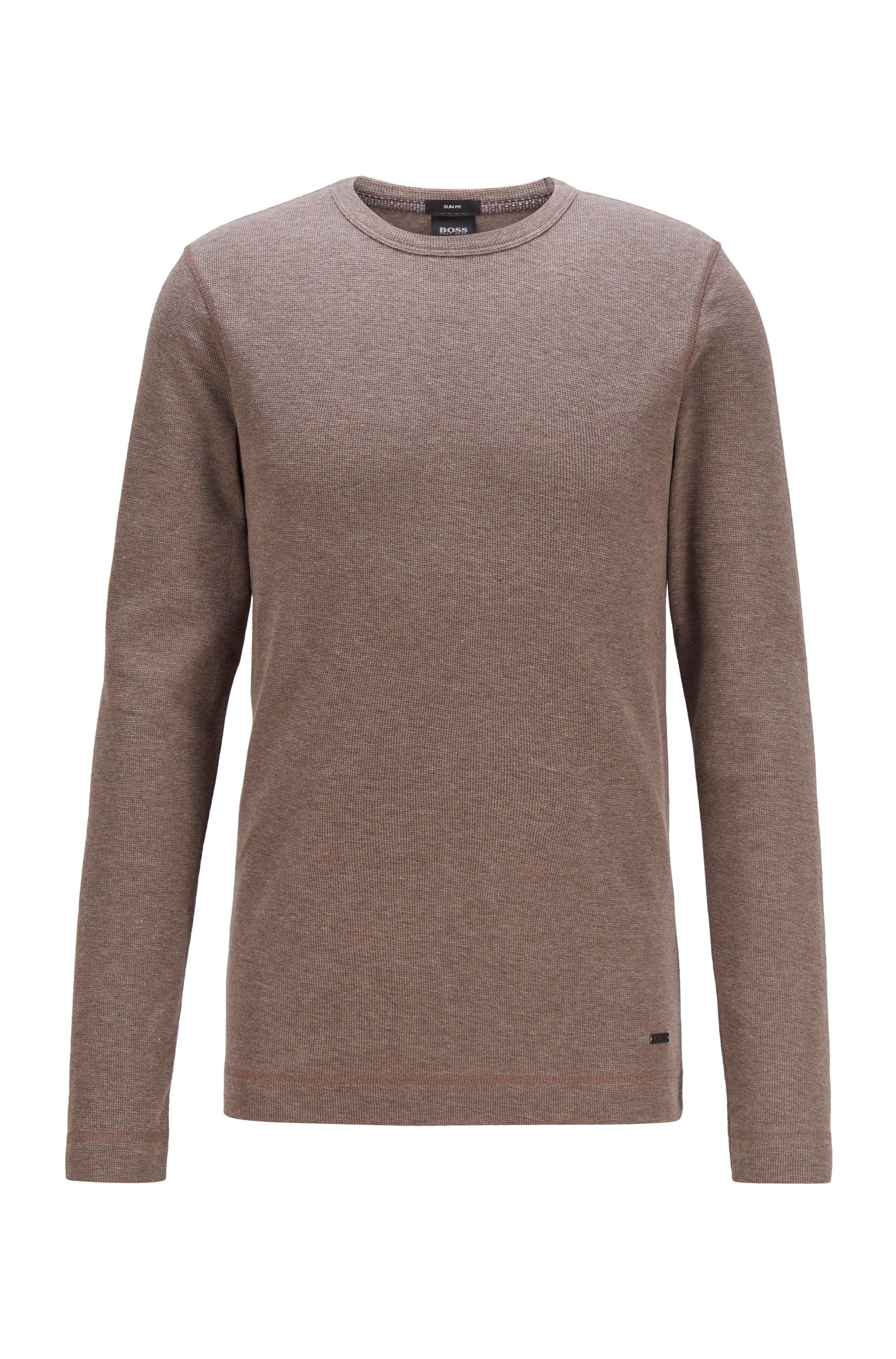 T-shirt Slim Fit à manches longues en coton gaufré, Brun chiné