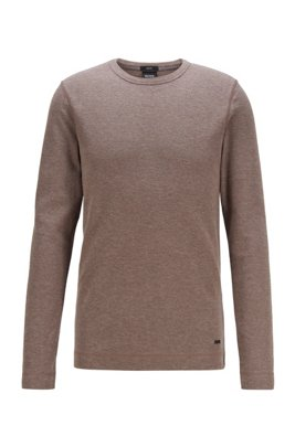 Slim-fit T-shirt with long sleeves in waffle cotton, Light Brown