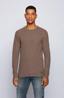 Slim-fit T-shirt met lange mouwen, van katoen met wafelstructuur, Lichtbruin