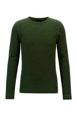 Slim-fit T-shirt with long sleeves in waffle cotton, Green