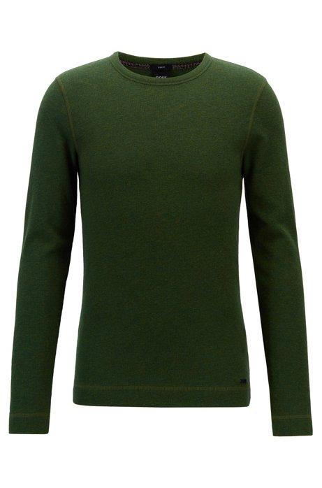 T-shirt slim fit a maniche lunghe in cotone waffle, Verde