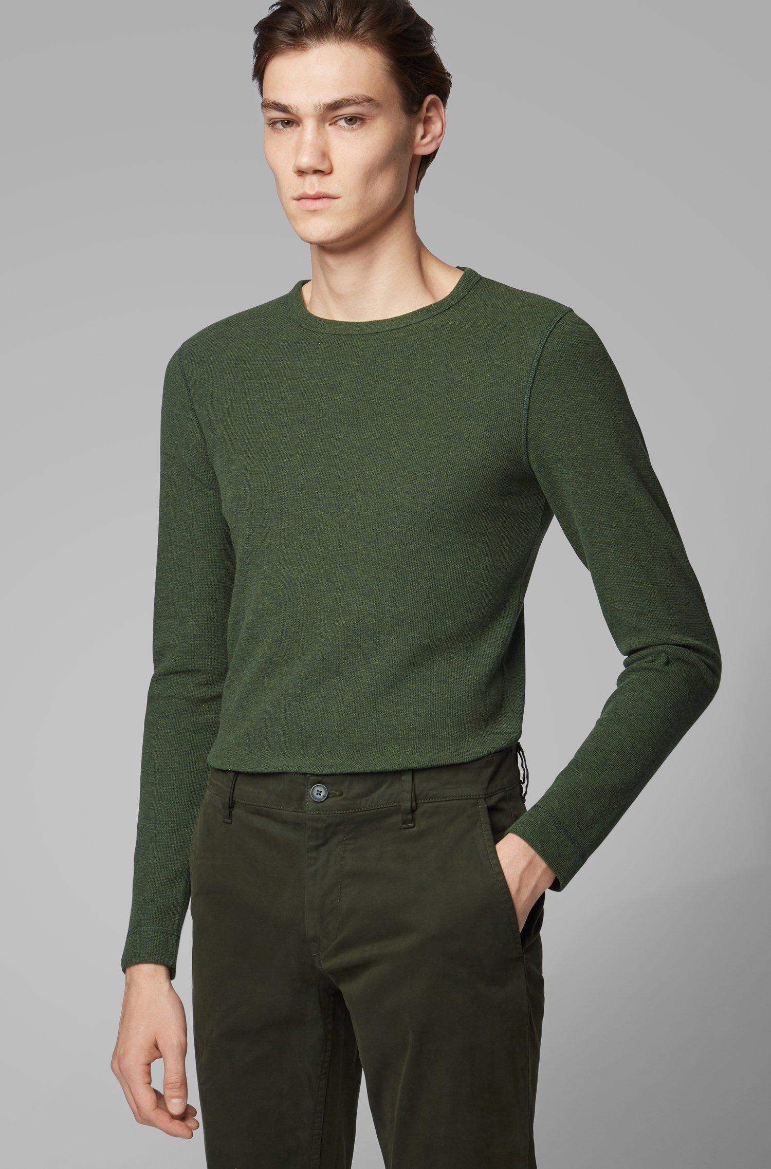 T-shirt Slim Fit à manches longues en coton gaufré, Vert