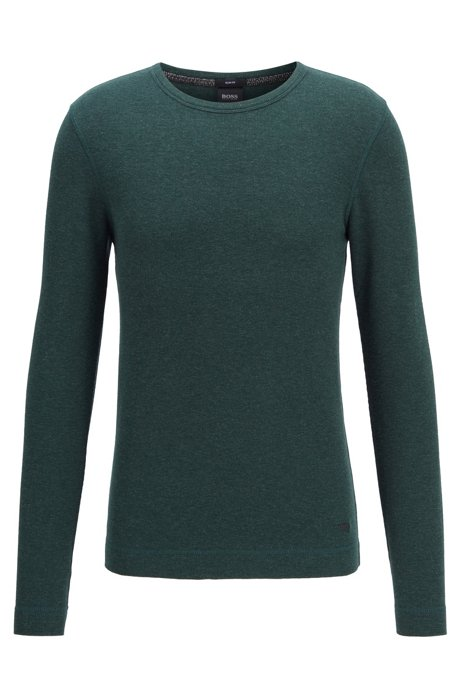 Camiseta slim fit de algodón de rejilla con mangas largas, Verde