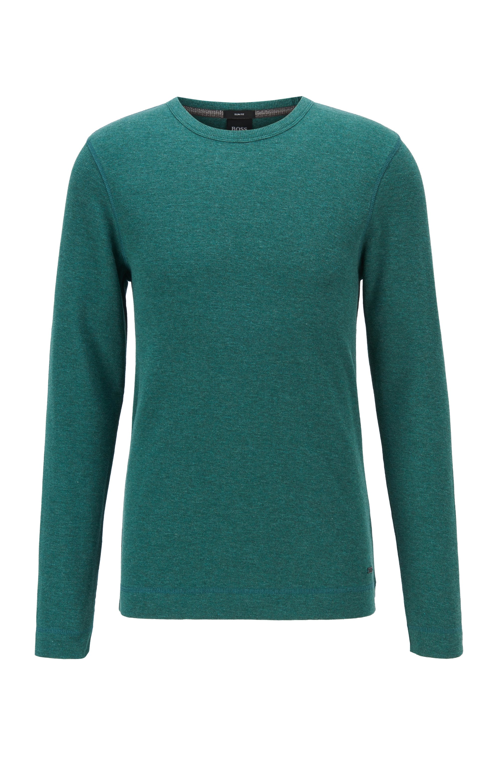Slim-fit T-shirt with long sleeves in waffle cotton, Light Green