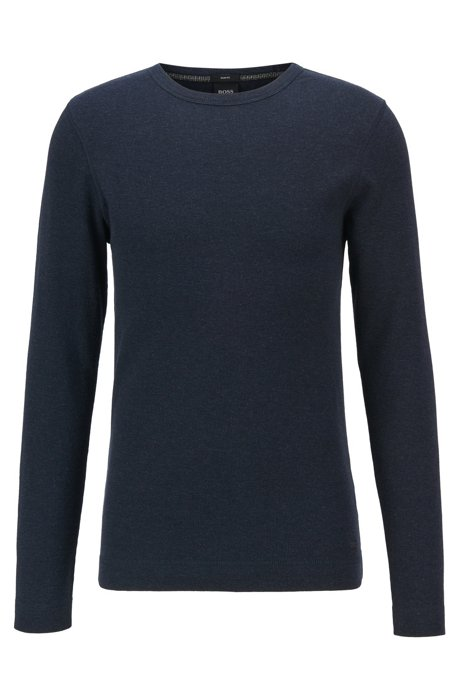 Slim-fit T-shirt with long sleeves in waffle cotton, Dark Blue