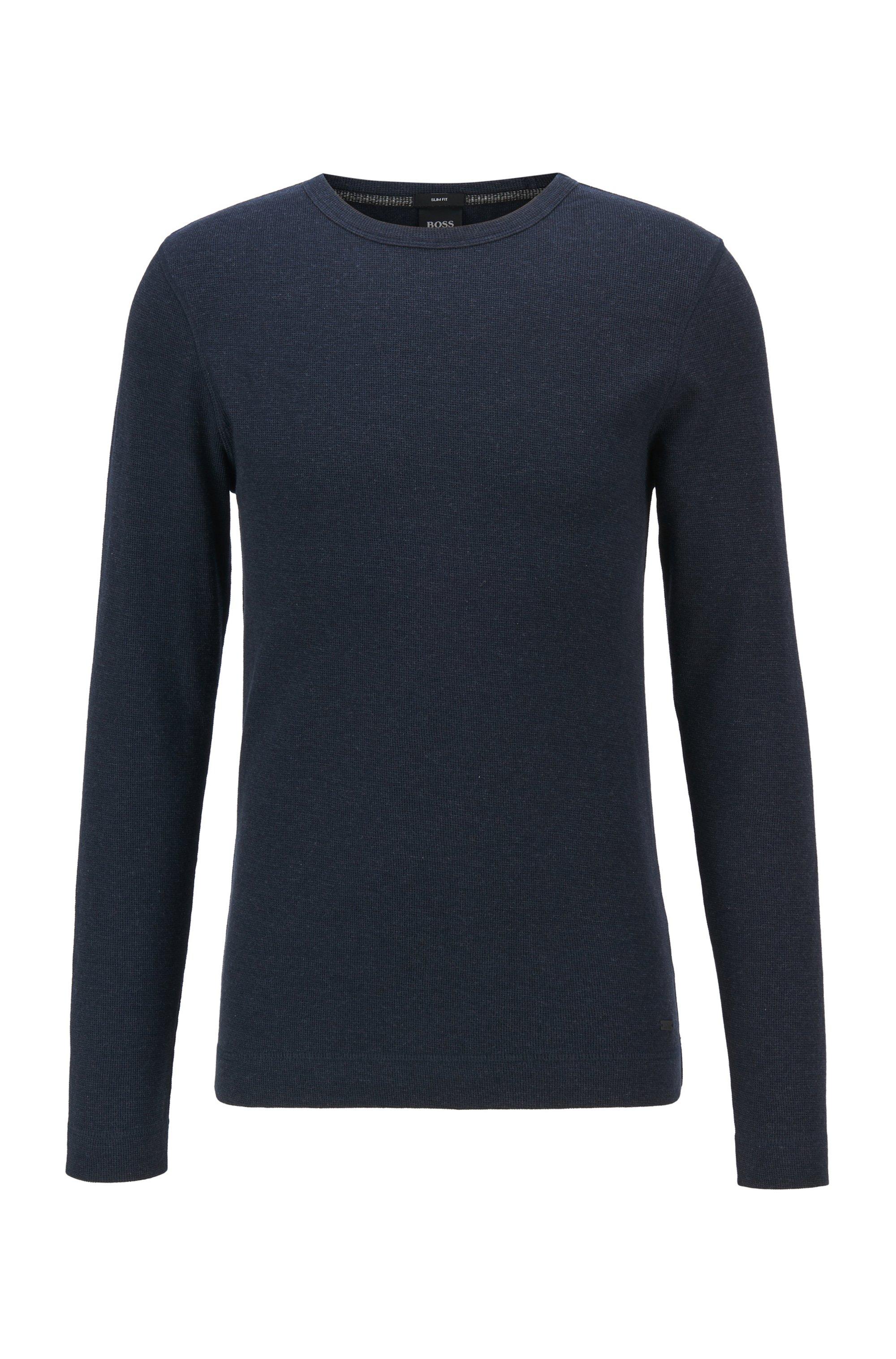 T-shirt slim fit a maniche lunghe in cotone con lavorazione a nido d'ape, Blu scuro