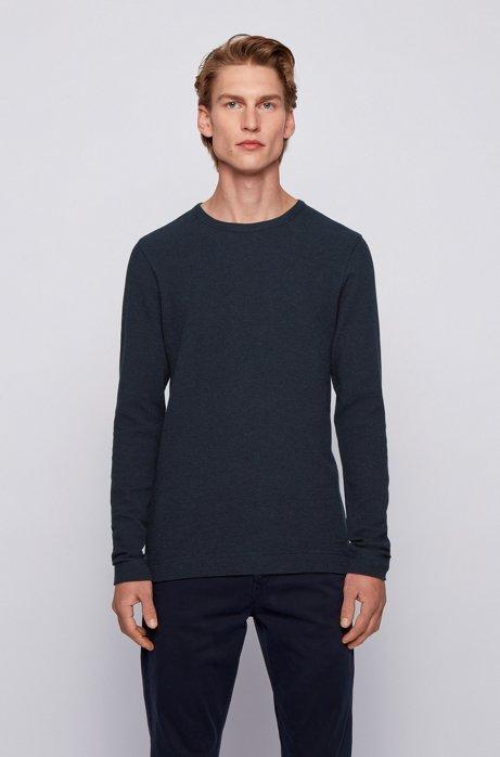 Slim-fit T-shirt met lange mouwen, van katoen met wafelstructuur, Donkerblauw