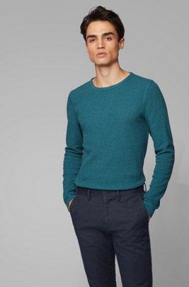 T-shirt Slim Fit à manches longues en coton gaufré, Bleu foncé