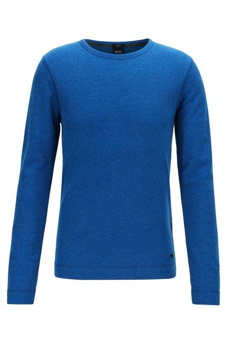 Slim-fit T-shirt met lange mouwen, van katoen met wafelstructuur, Blauw