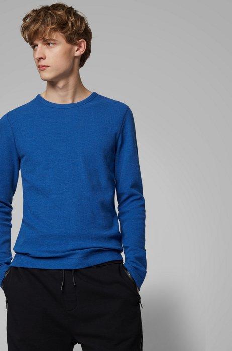 T-shirt Slim Fit à manches longues en coton gaufré, Bleu