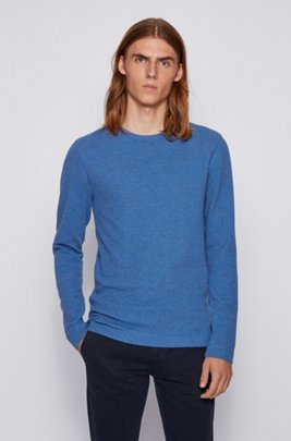 Slim-fit T-shirt with long sleeves in waffle cotton, Blue
