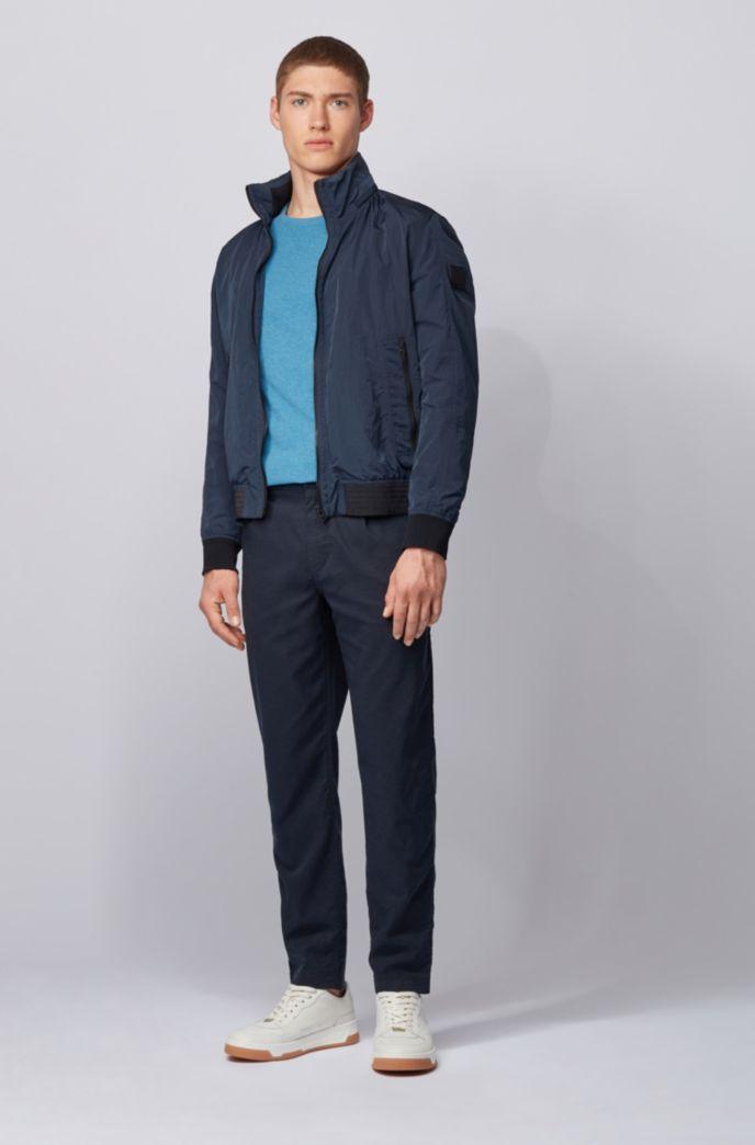 T-shirt Slim Fit à manches longues en coton gaufré
