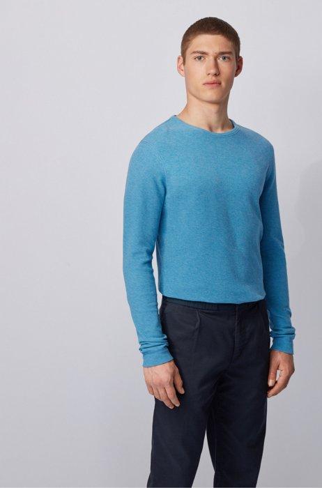T-shirt Slim Fit à manches longues en coton gaufré, Turquoise