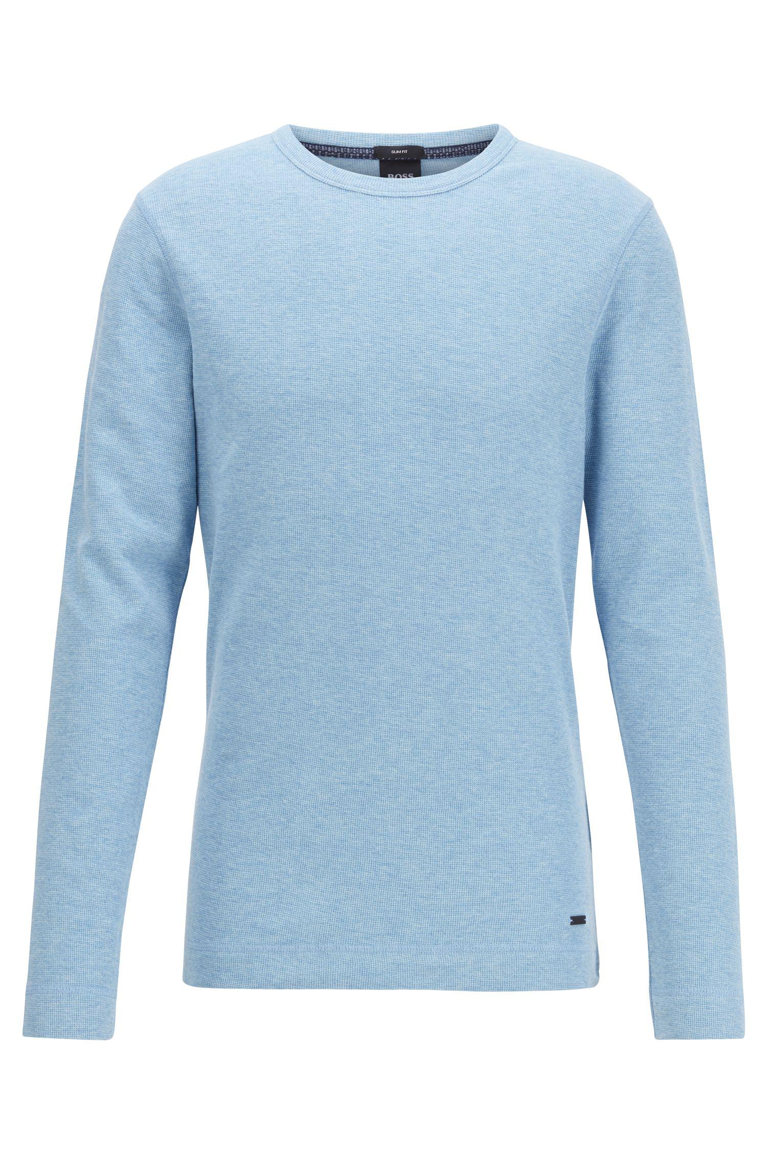Slim-fit T-shirt met lange mouwen, van katoen met wafelstructuur, Lichtblauw