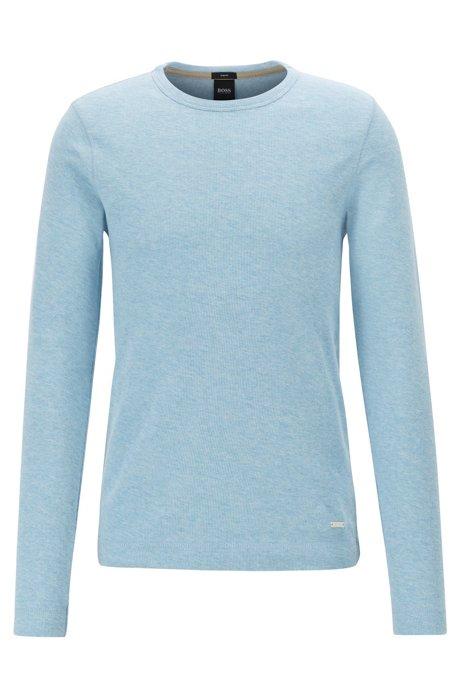 T-shirt Slim Fit à manches longues en coton gaufré, Bleu vif