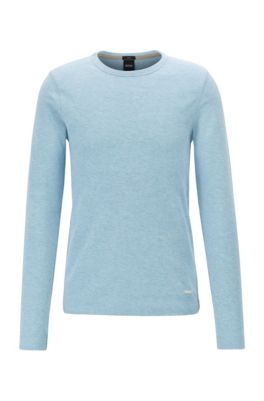 T-shirt Slim Fit à manches longues en coton gaufré, bleu clair