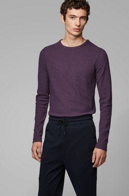 Slim-fit T-shirt met lange mouwen, van katoen met wafelstructuur, Lichtpaars