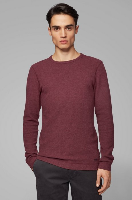 Slim-fit T-shirt with long sleeves in waffle cotton, Dark Red