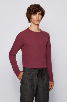 T-shirt Slim Fit à manches longues en coton gaufré, Rouge sombre