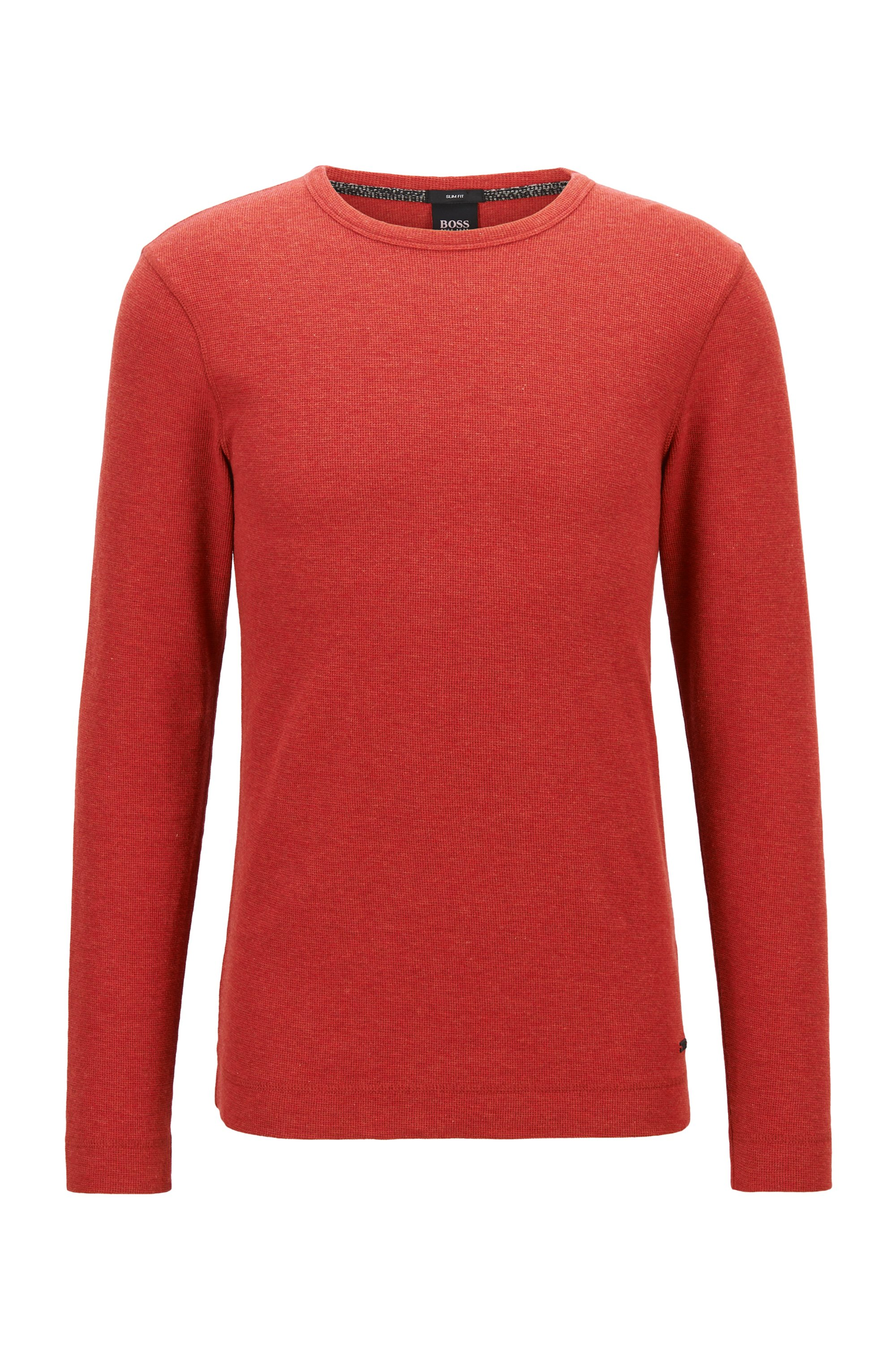 T-shirt Slim Fit à manches longues en coton gaufré, Rouge