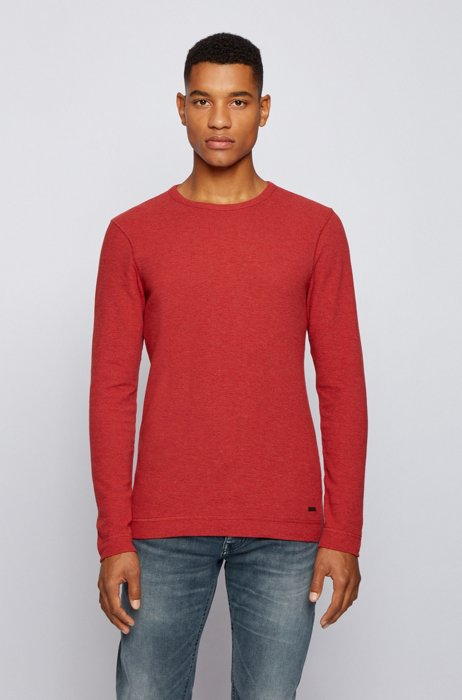 Slim-fit T-shirt with long sleeves in waffle cotton, Red