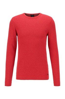 Slim-fit T-shirt met lange mouwen, van katoen met wafelstructuur, Rood
