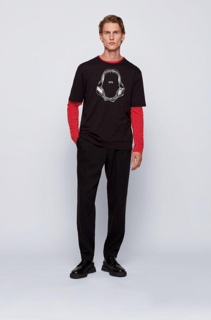 Slim-fit T-shirt met lange mouwen, van katoen met wafelstructuur