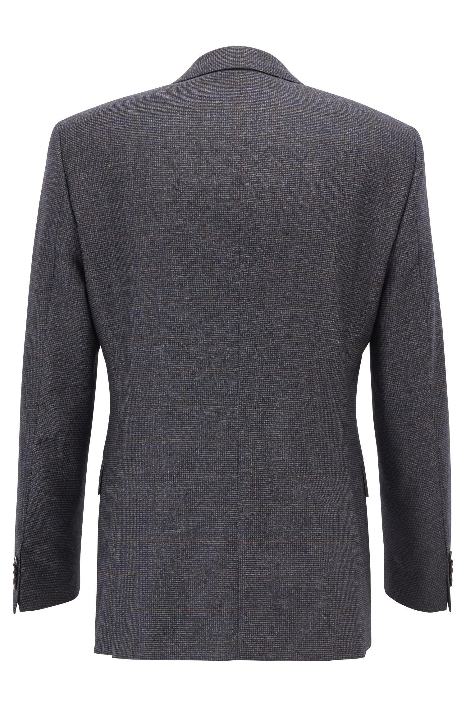 Karierter Slim-Fit Anzug aus Schurwoll-Mix, Grau