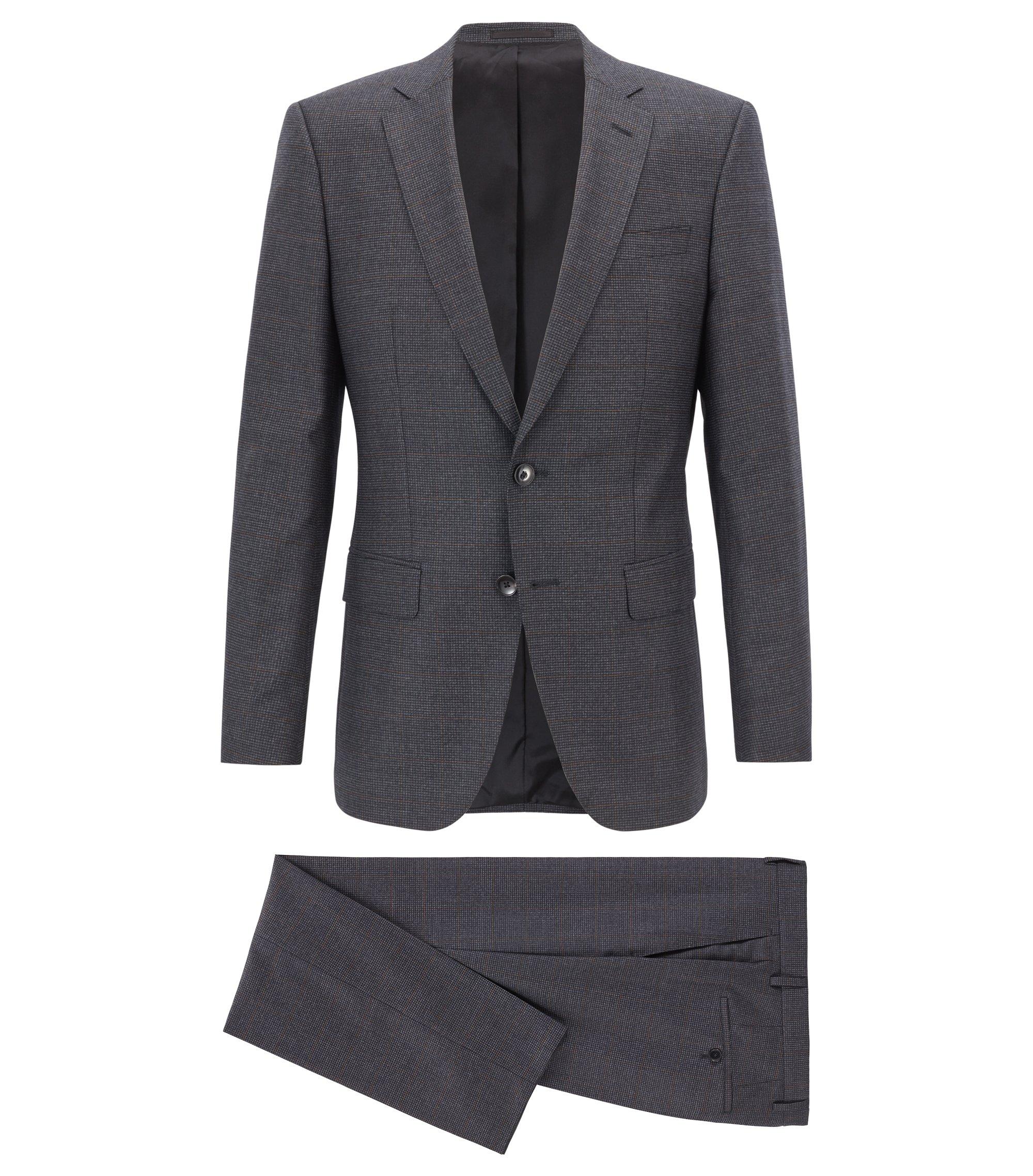 Slim-fit kostuum van een geruite scheerwolmix, Grijs