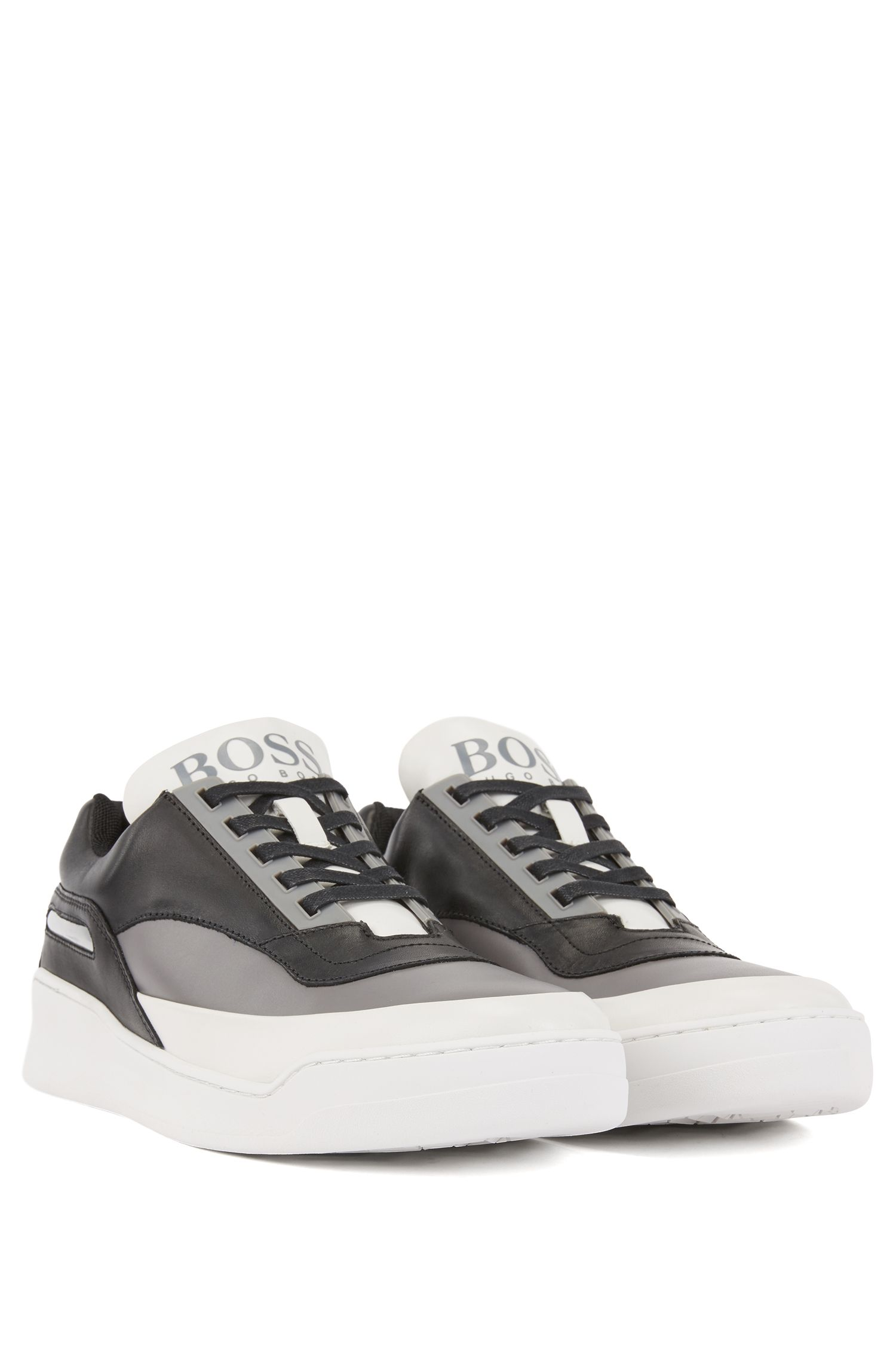 Leather trainers with reflective window and rubber sole, Grey