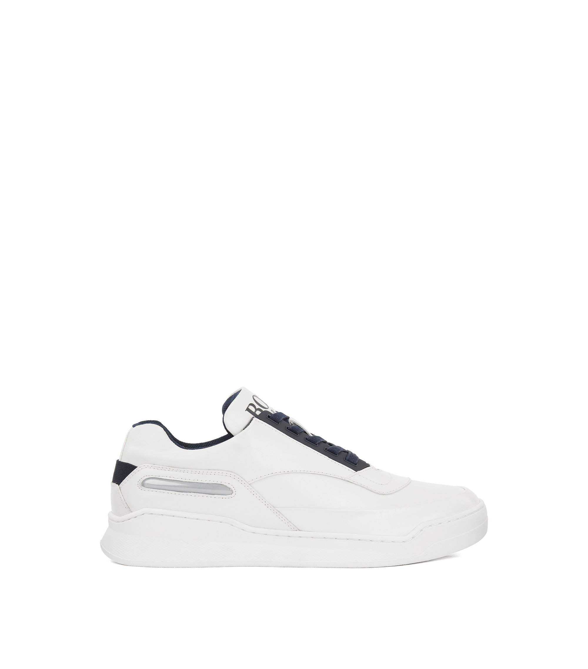 Leather trainers with reflective window and rubber sole, White