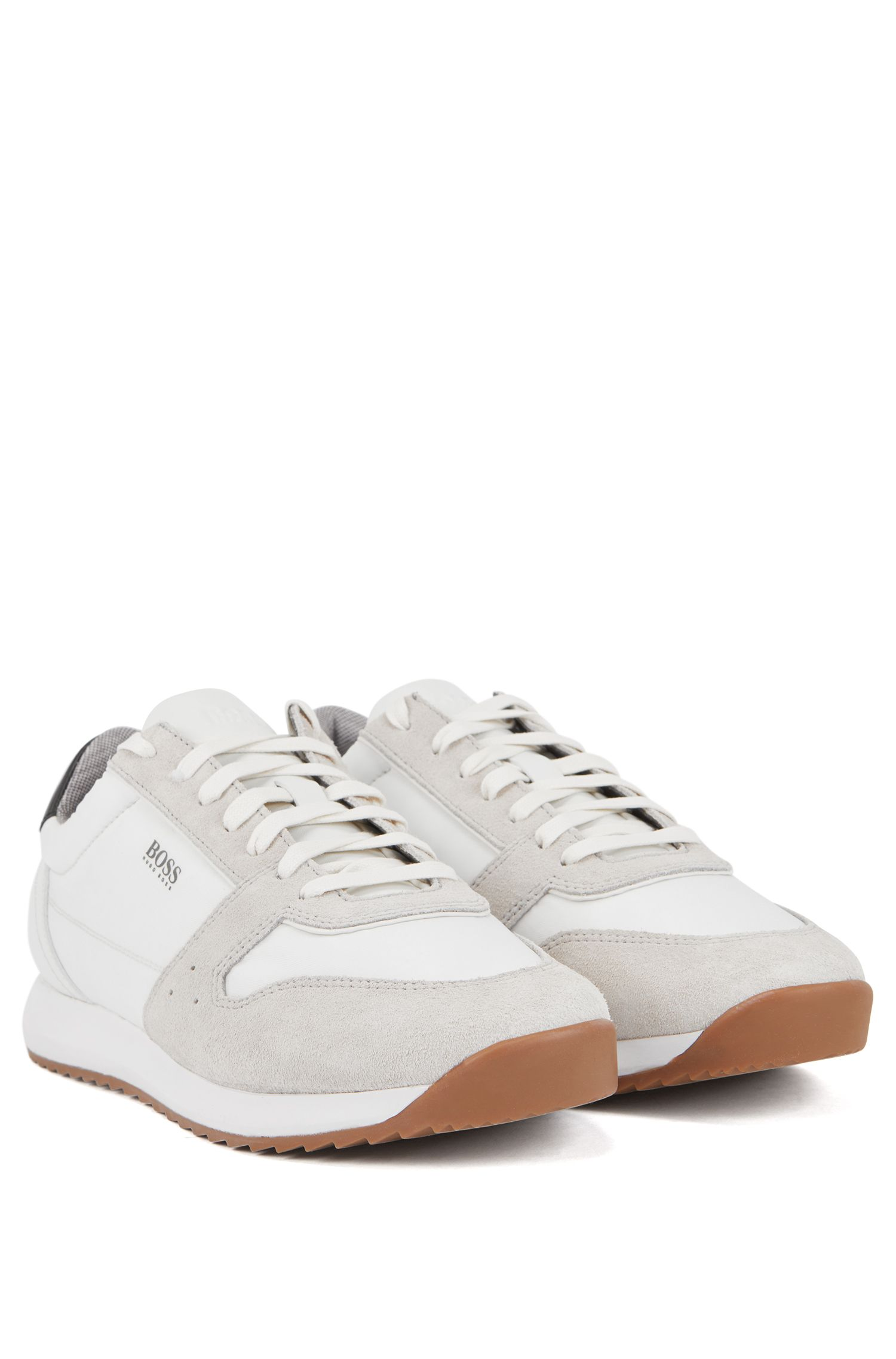 Running-inspired trainers with technical bamboo-charcoal lining, Blanco