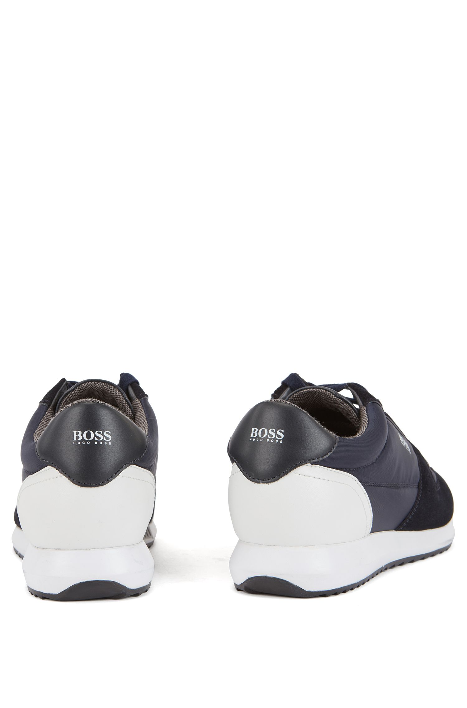 Running-inspired trainers with technical bamboo-charcoal lining, Bleu foncé