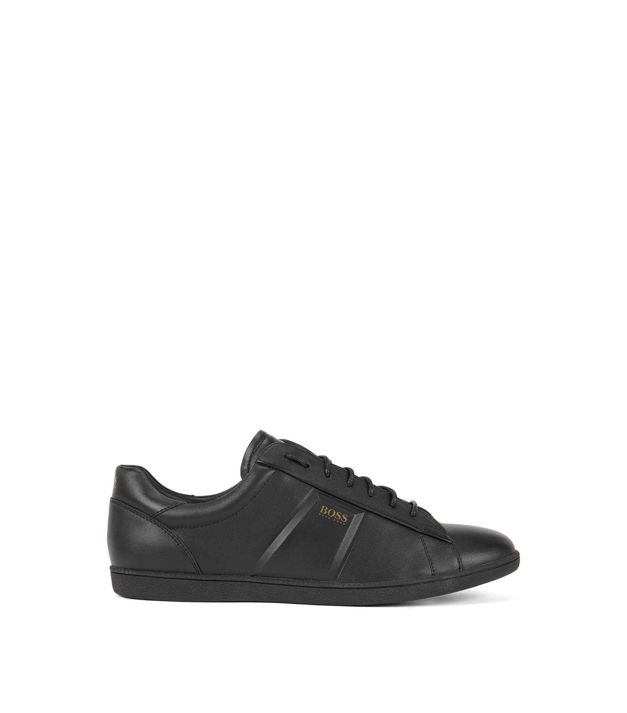 Low-top trainers in nappa leather with raised details, Black