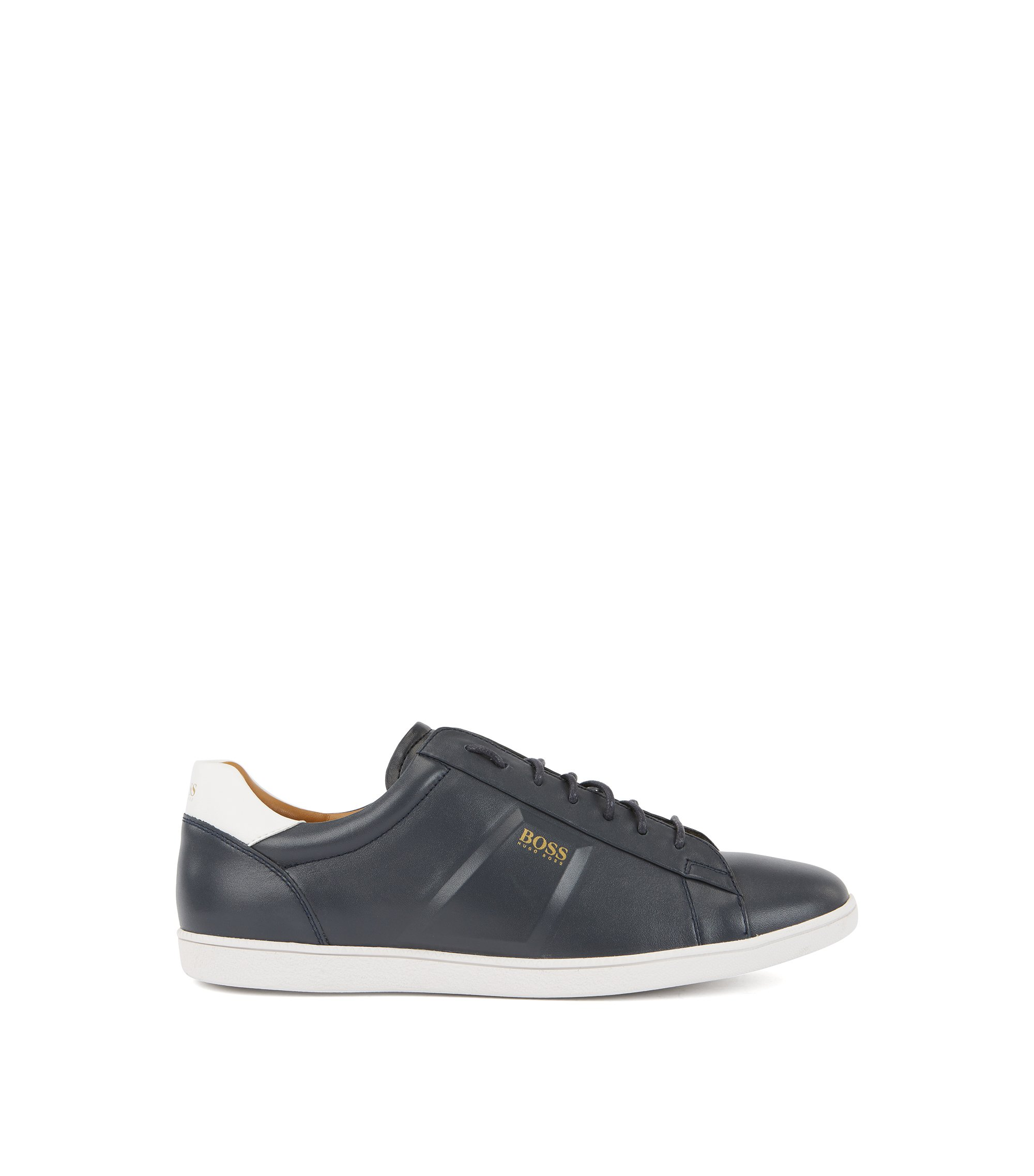 Low-top trainers in nappa leather with raised details, Dark Blue