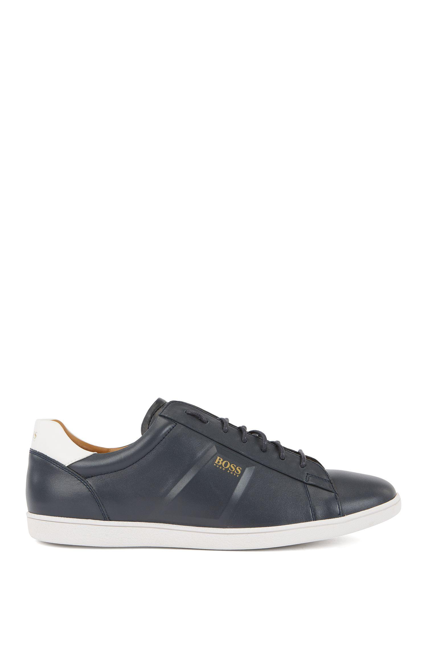 Lage sneakers van nappaleer met reliëfdetails, Donkerblauw