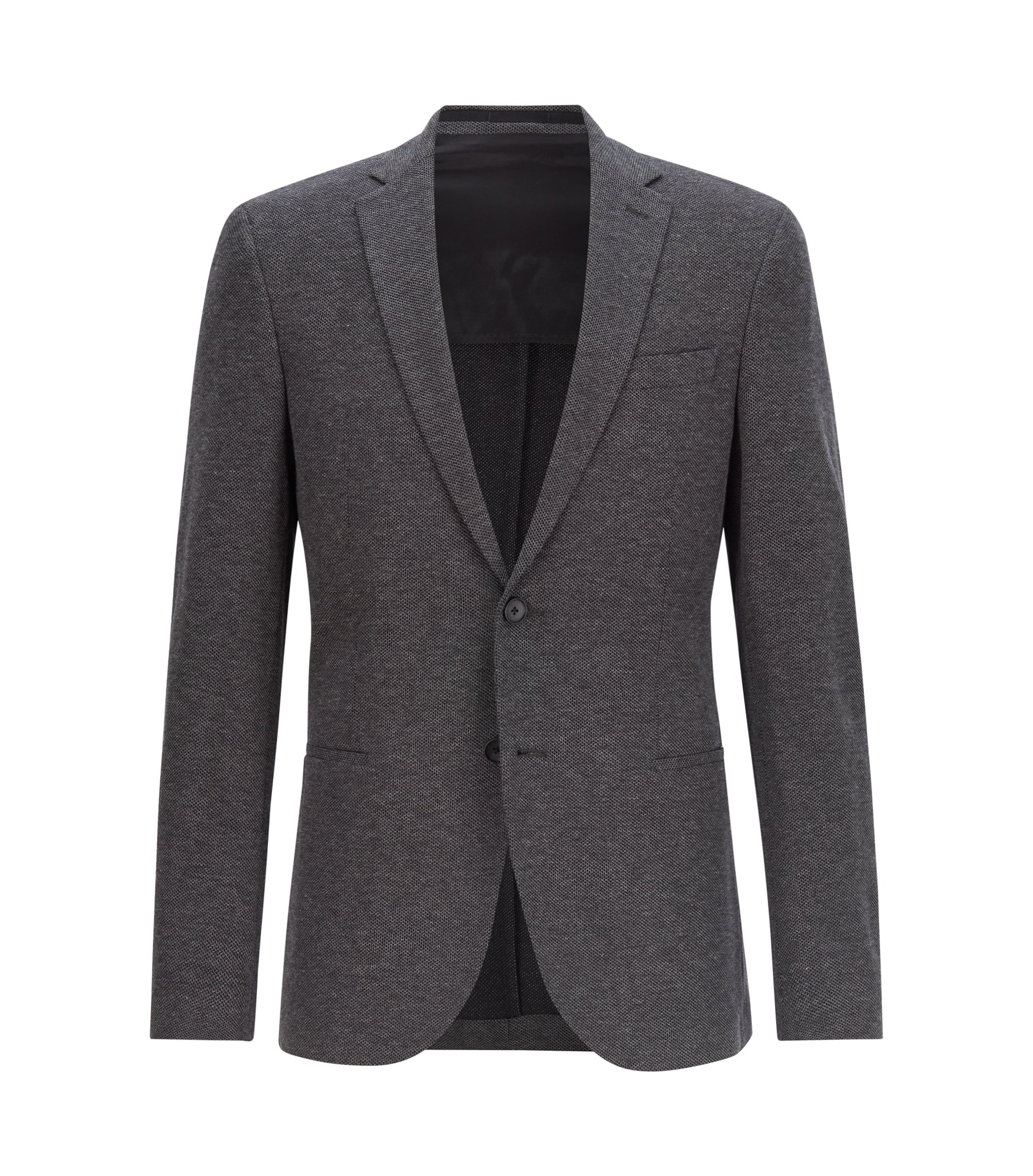 Slim-fit jacket in textured cotton, Dark Grey