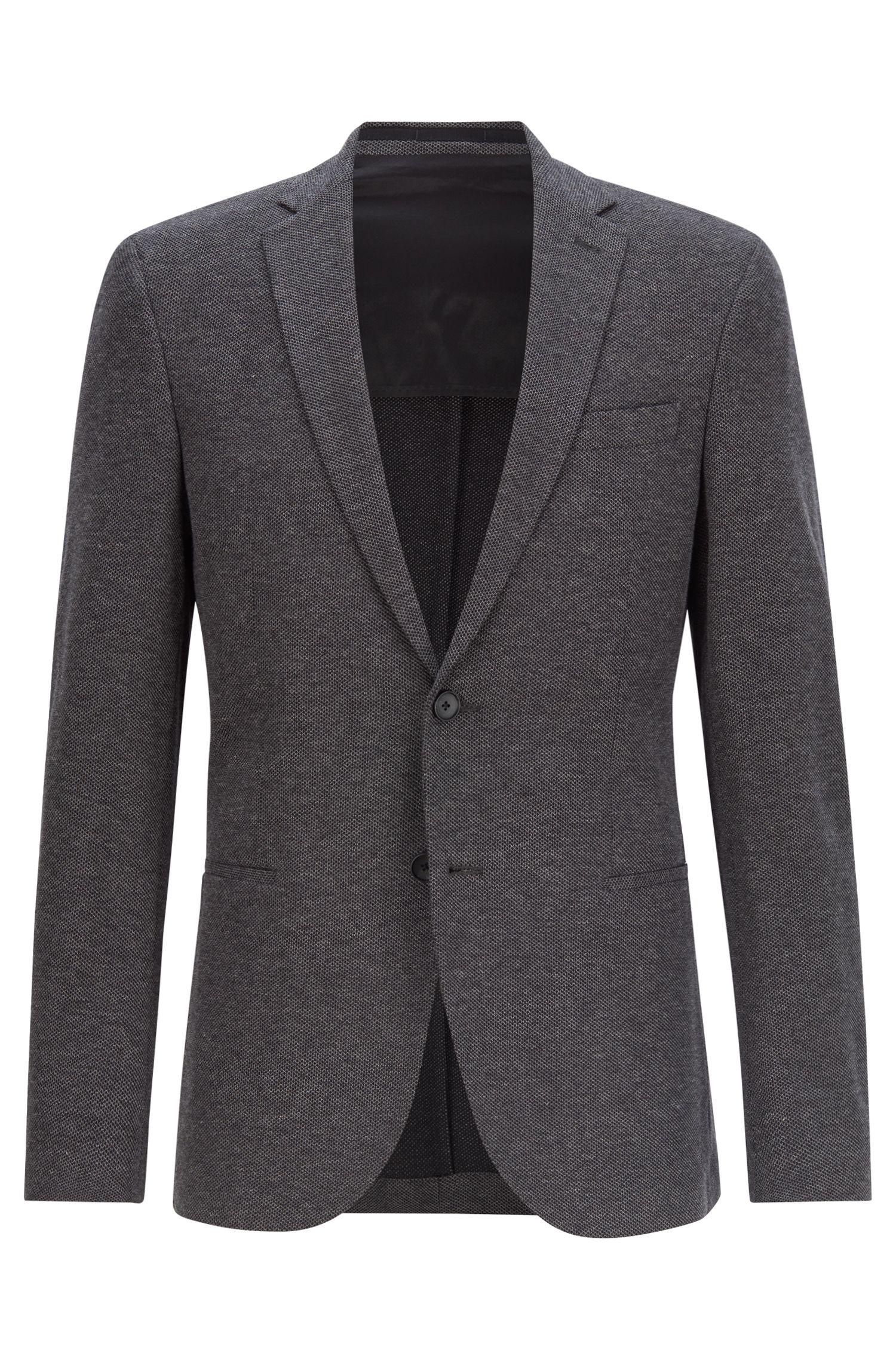 Slim-fit jacket in textured cotton, Dark Grey