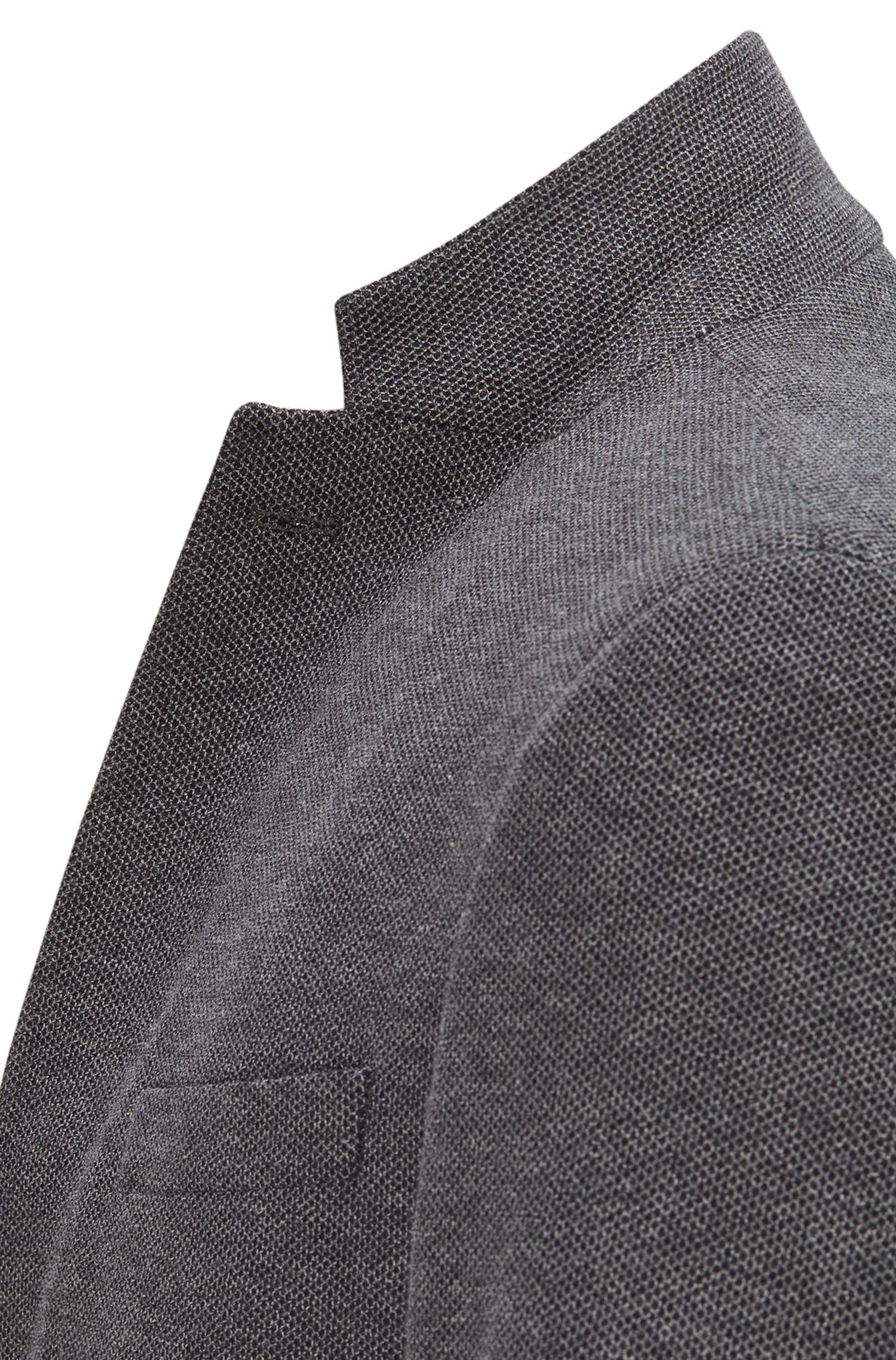Slim-Fit Sakko aus strukturierter Baumwolle, Dunkelgrau