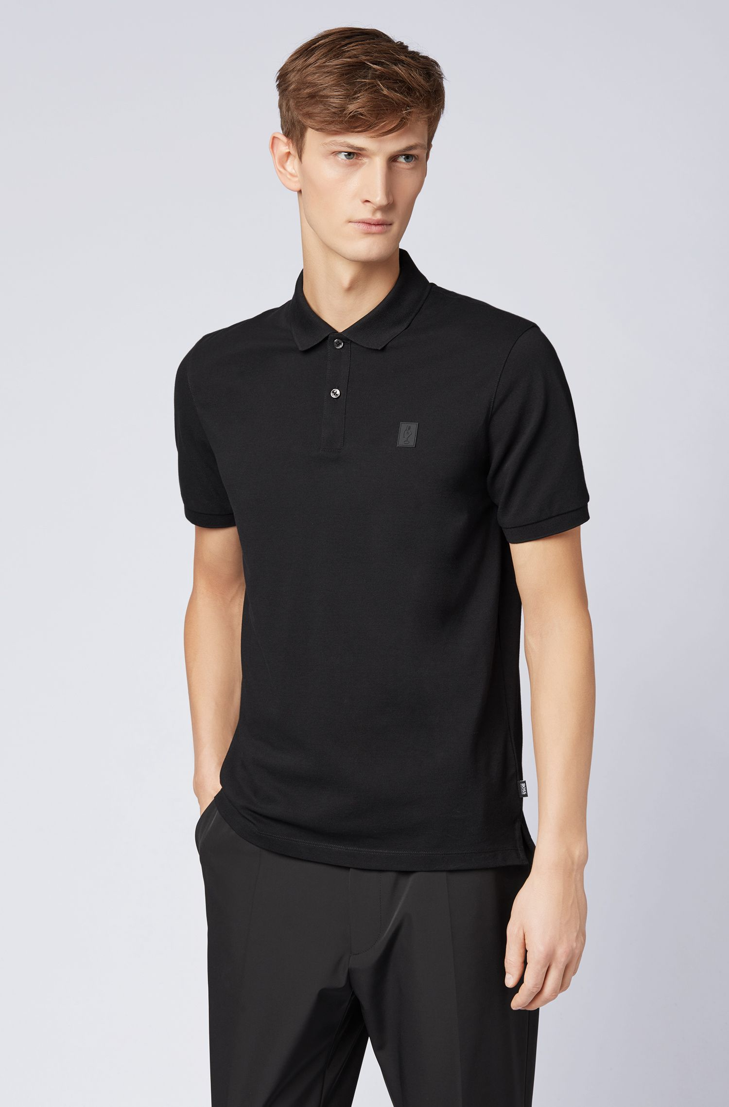 Limited-edition Pima-cotton polo shirt with Jeremyville badge, Black