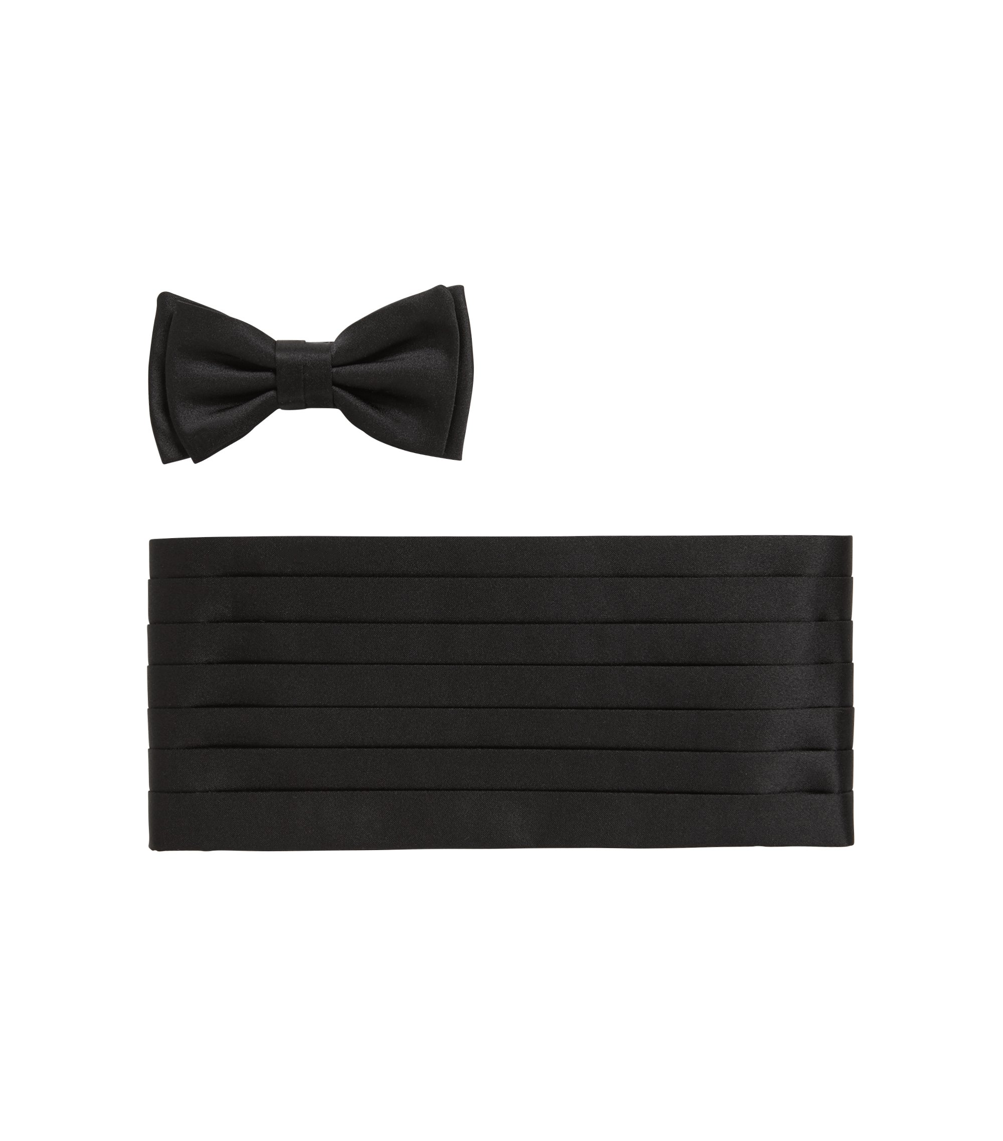 Tailored Italian-made silk bow-tie and cummerbund set, Schwarz